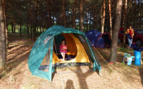 палаточный лагерь в лесу