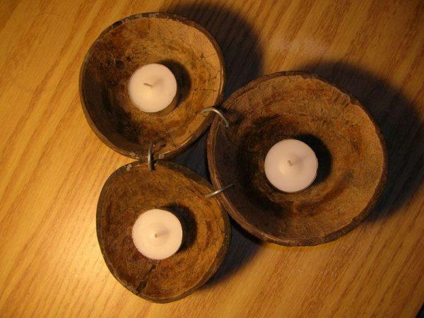 Подсвечник из скорлупы кокоса