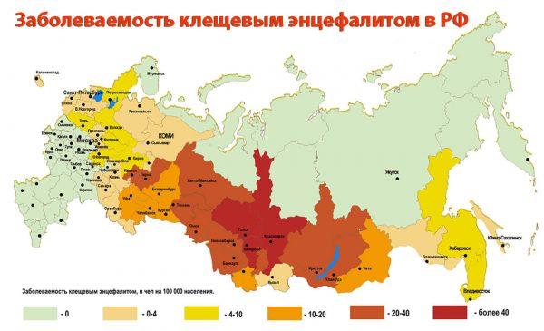 Карта активности энцефалитного клеща на территории России