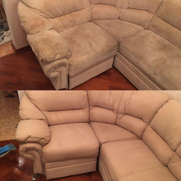 Фото дивана до и после профессиональной чистки