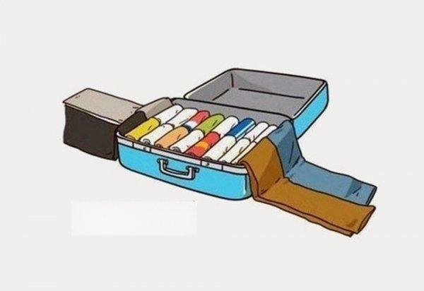 Укладка брюк в чемодан