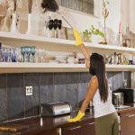 Девушка смахивает пыль с предметов интерьера с помощью перьевой метёлки