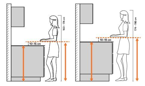 Зависимость высоты рабочей поверхности от роста
