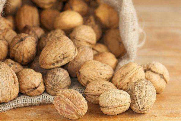 Грецкие орехи в холщовом мешке