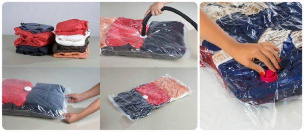Упаковка одежды в вакуумные пакеты