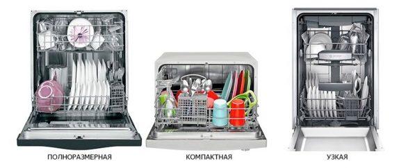 Посудомоечные машины, отличные по размеру