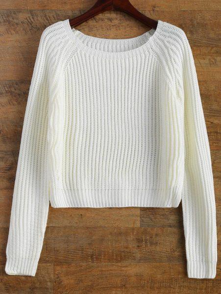 Белый шерстяной свитер