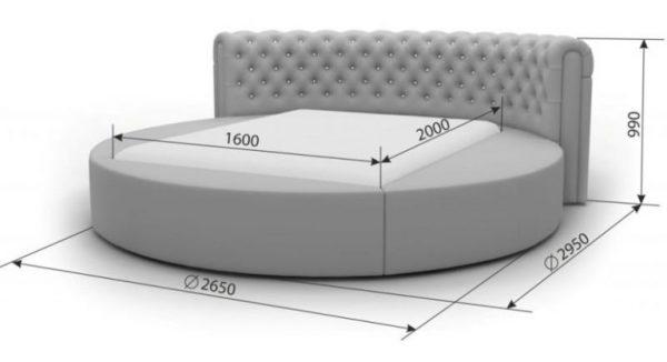 Круглая кровать с указанием размеров