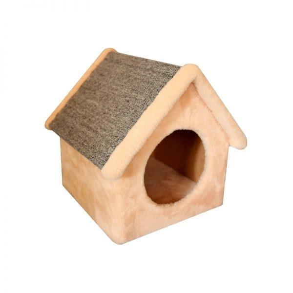 Когтеточка-будка с угловатой крышей и ковролином для царапанья