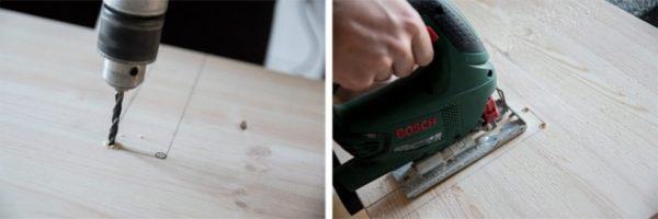 дрелью сверлим отверстия в углах и лобзиком вырезаем лишний фрагмент боковой стенки