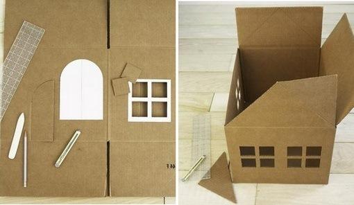 готовые трафареты окон и дверного проёма с началом обработки крыши второго этажа домика