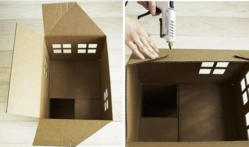 разметка треугольного выступа крыши и приклеивание согнутых уголков чердака перед креплением крыши домика