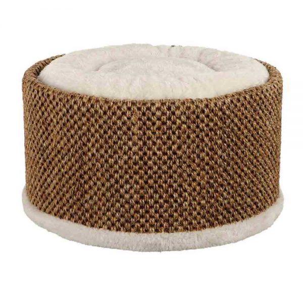 Когтеточка-лежанка круглая с бежевой подушкой в центре и тёмно-коричневой основой для царапанья