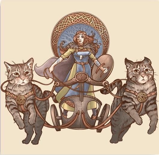 Фрейя в колеснице с кошками